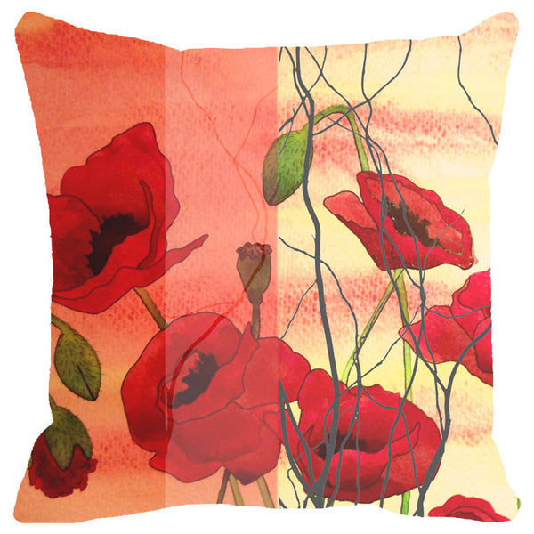 Leaf Designs Orange And Red Floral Cushion Cover