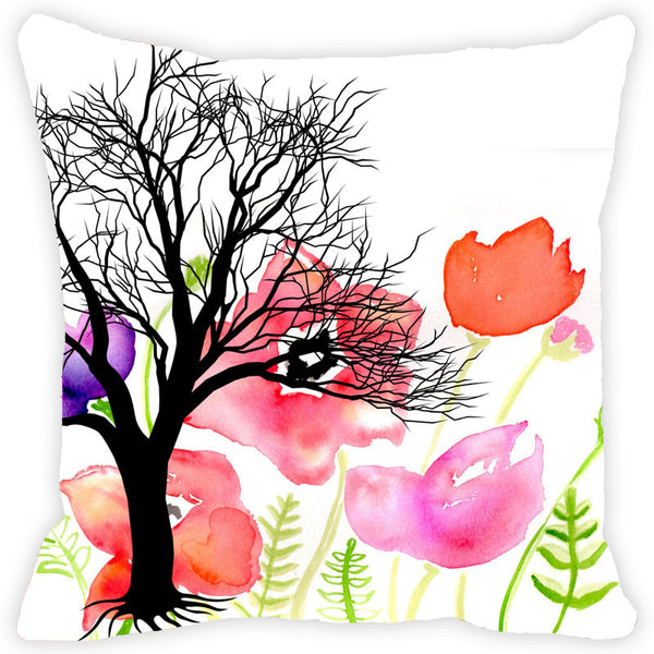 Leaf Designs Tree And Multicoloured Floral Cushion Cover