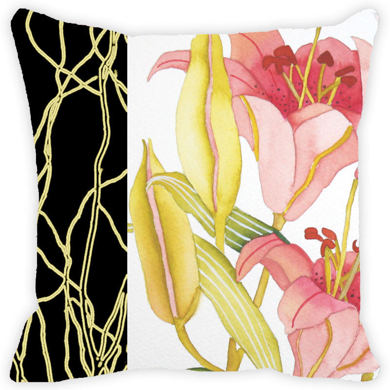 Leaf Designs Black Band And Multicoloured Floral Cushion Cover