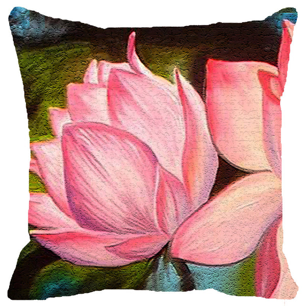 Leaf Designs Pink Lotus Cushion Cover