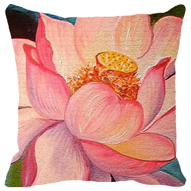 Leaf Designs Peach Lotus Cushion Cover