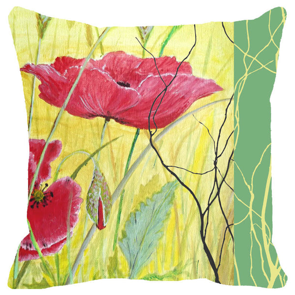 Leaf Designs Yellow And Red Floral Cushion Cover