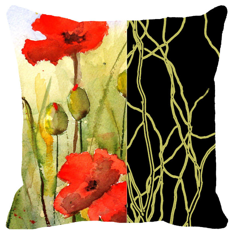 Leaf Designs Black Band And Red Floral Cushion Cover