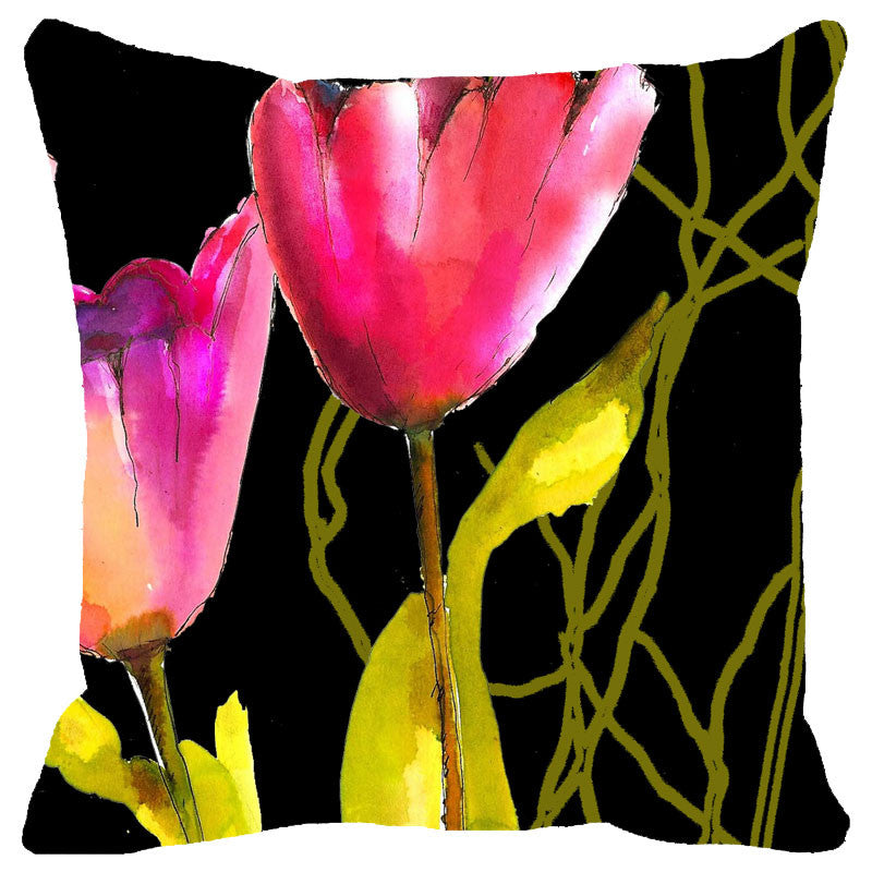 Leaf Designs Black And Pink Floral Cushion Cover