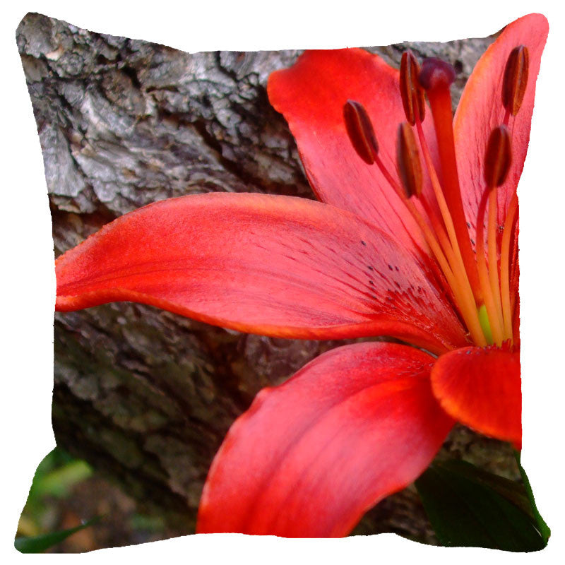 Leaf Designs Red Hibiscus Cushion Cover