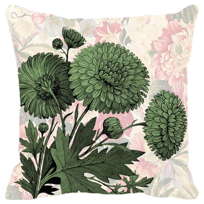 Leaf Designs Chintz Green Floral Cushion Cover