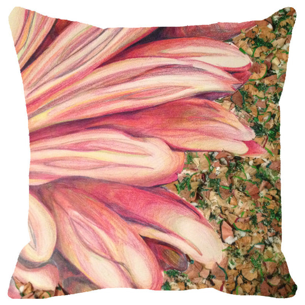 Leaf Designs Pink Petals Cushion Cover