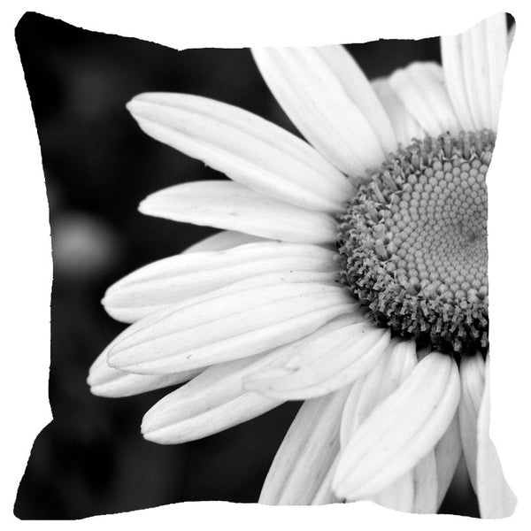 Leaf Designs Black And White Daisy Cushion Cover