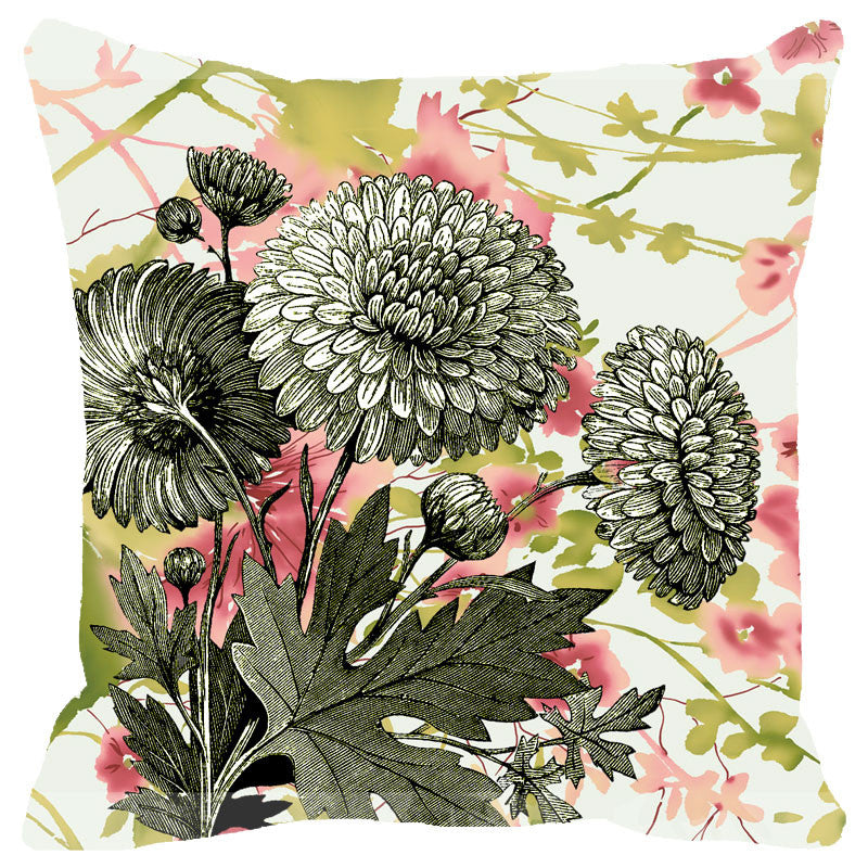 Leaf Designs Vintage Green Floral Cushion Cover