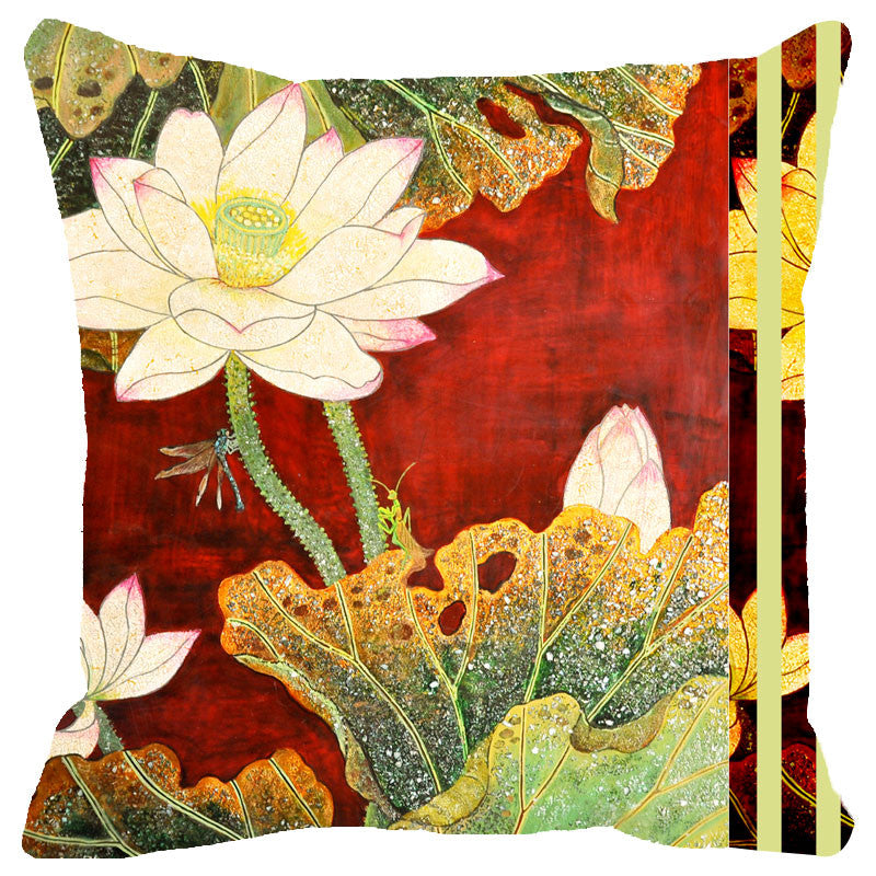 Leaf Designs Red And Green Floral Cushion Cover II