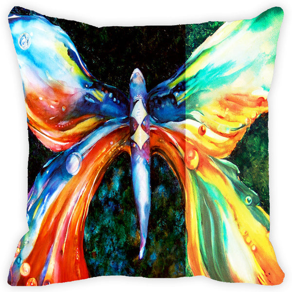 Leaf Designs Multicolored Butterfly Cushion Cover