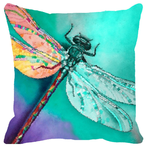 Leaf Designs Aqua Dragonfly Cushion Cover