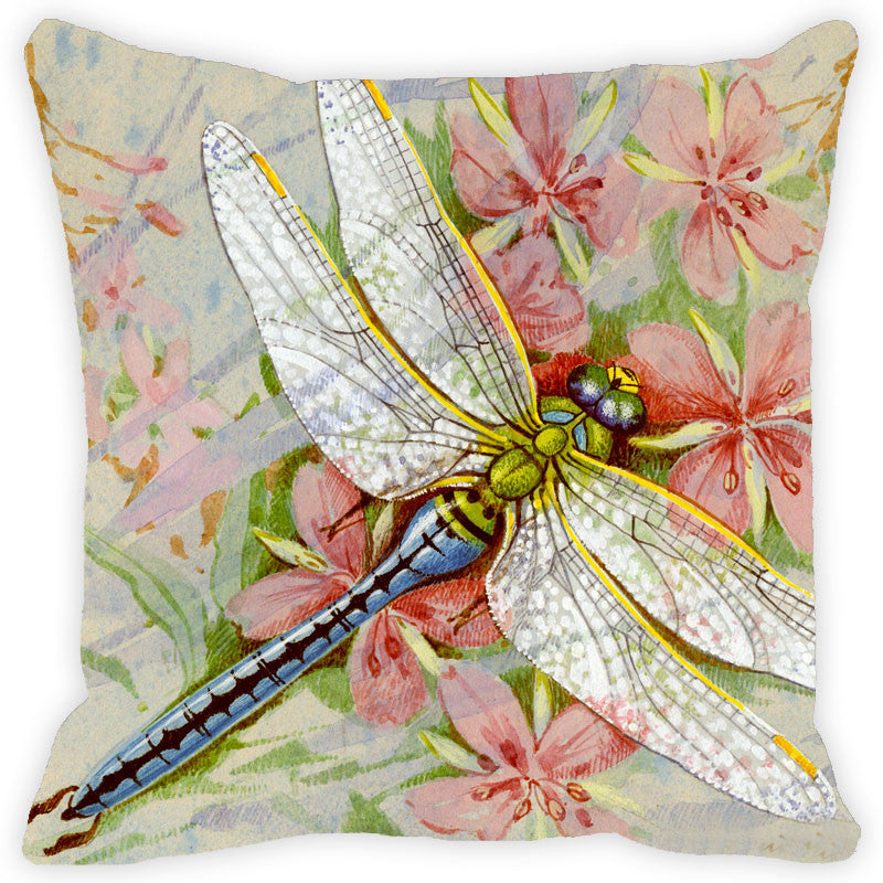 Leaf Designs Dragonfly & Pink Floral Cushion Cover