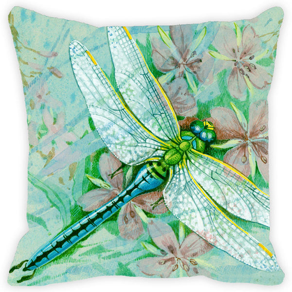 Leaf Designs Dragonfly & Green Floral Cushion Cover