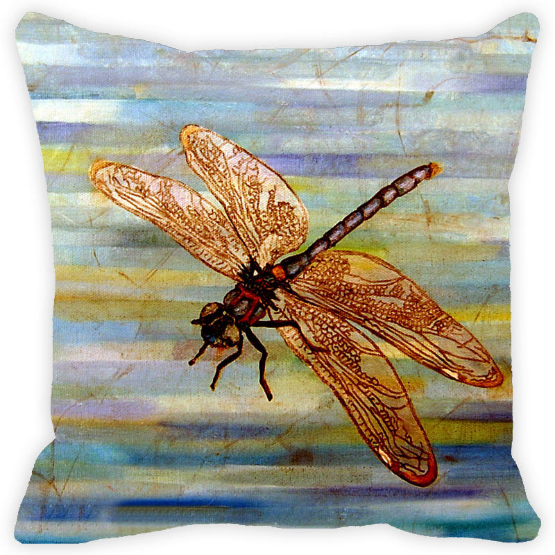 Leaf Designs Stripes & Brown Dragonfly Cushion Cover