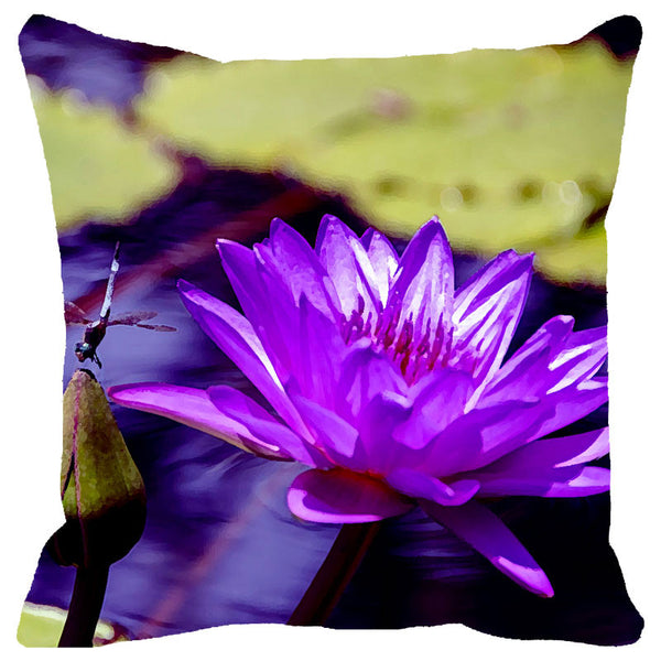 Leaf Designs Dragonfly & Purple Flower Cushion Cover