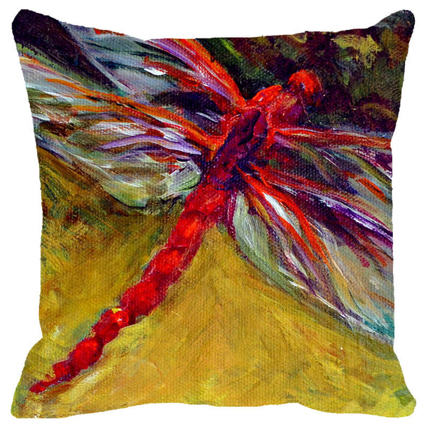 Leaf Designs Multicolored Painted Dragonfly Cushion Cover