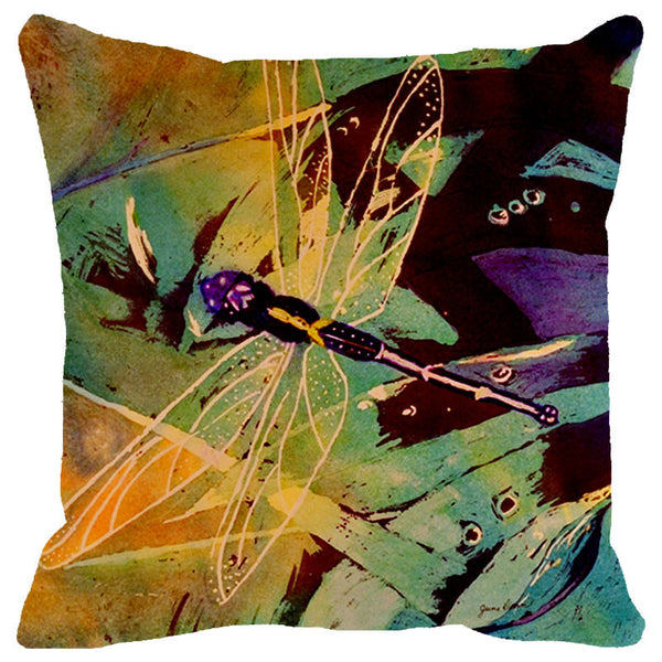 Leaf Designs Purple & Green Dragonfly Cushion Cover