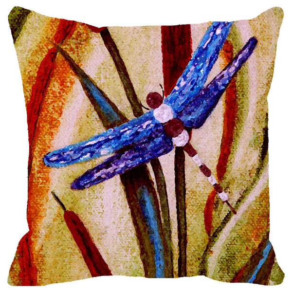 Leaf Designs Indigo Dragonfly Cushion Cover