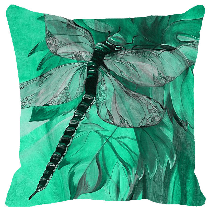 Leaf Designs Green Tones Dragonfly Cushion Cover