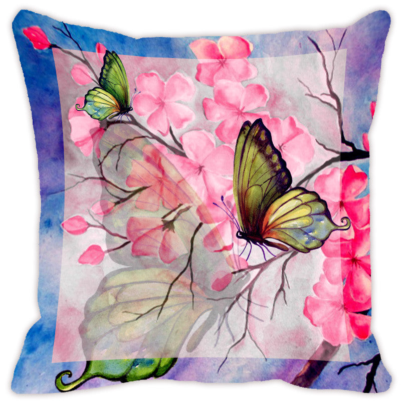 Leaf Designs Pink & Blue Butterfly Cushion Cover