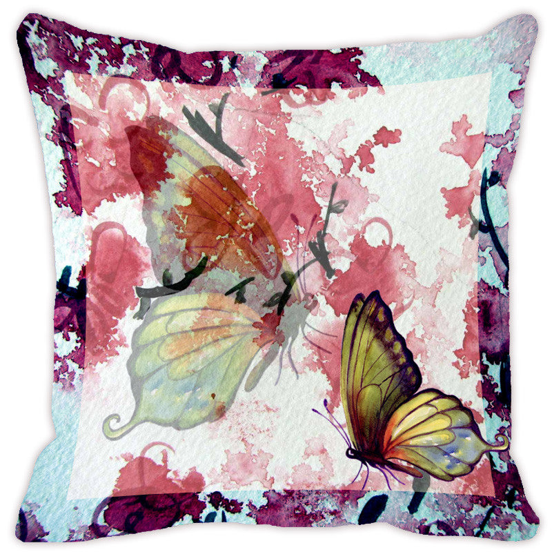 Leaf Designs Light Blue Butterfly Cushion Cover