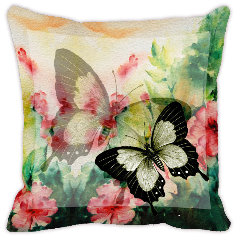 Leaf Designs Light Yellow Butterfly Cushion Cover