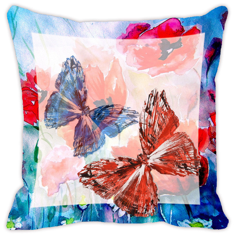 Leaf Designs Light Blue & Peach Butterfly Cushion Cover