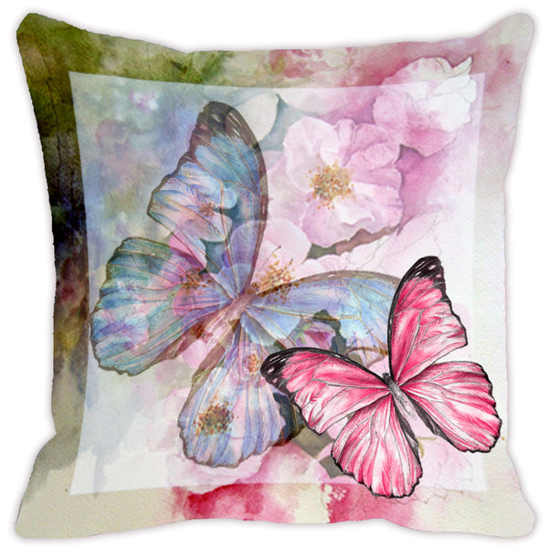Leaf Designs Light Green & Pink Butterfly Cushion Cover