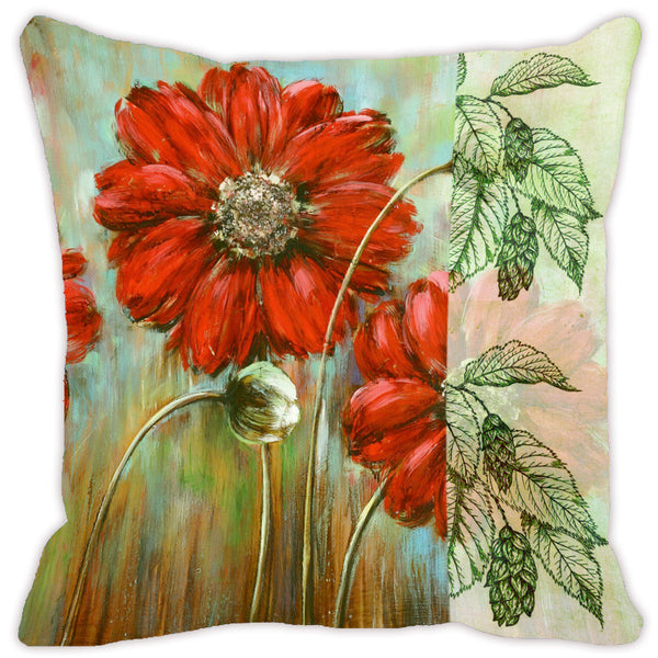 Leaf Designs Light Orange & Green Flora Cushion Cover