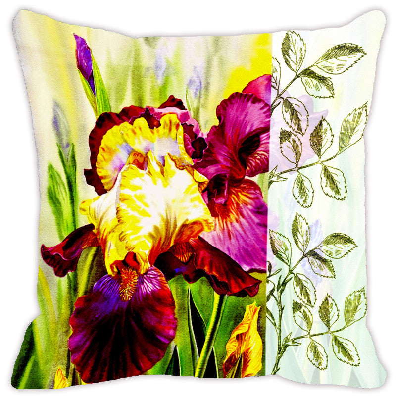 Leaf Designs Light Yellow & Magenta Flora Cushion Cover