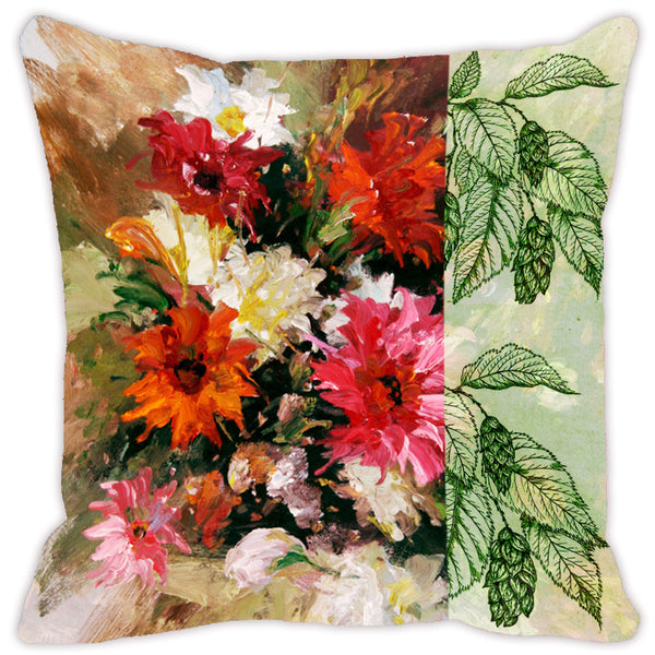 Leaf Designs Brown & Red Flora Cushion Cover