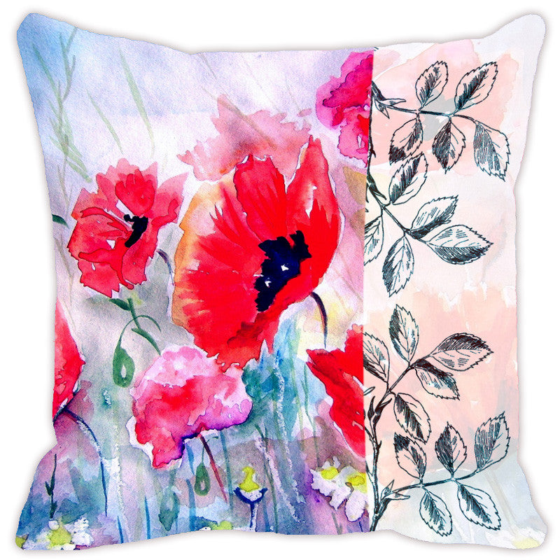 Leaf Designs Light Blue & Red Flora Cushion Cover