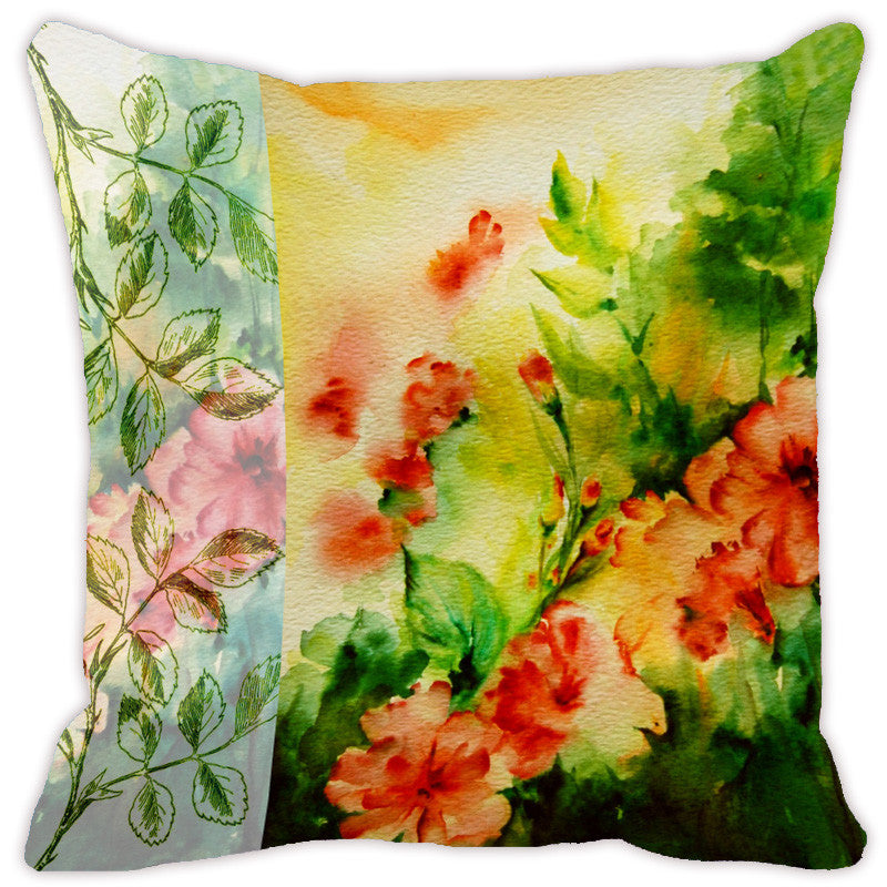 Leaf Designs Light Yellow & Green Flora Cushion Cover