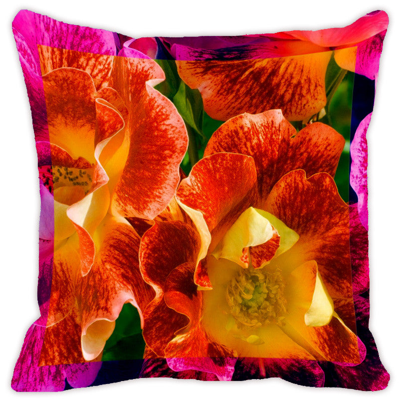 Leaf Designs Fiery Orange Flora Cushion Cover