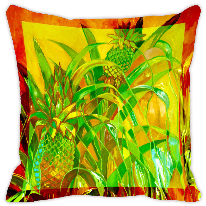 Leaf Designs Bright Green Flora Cushion Cover