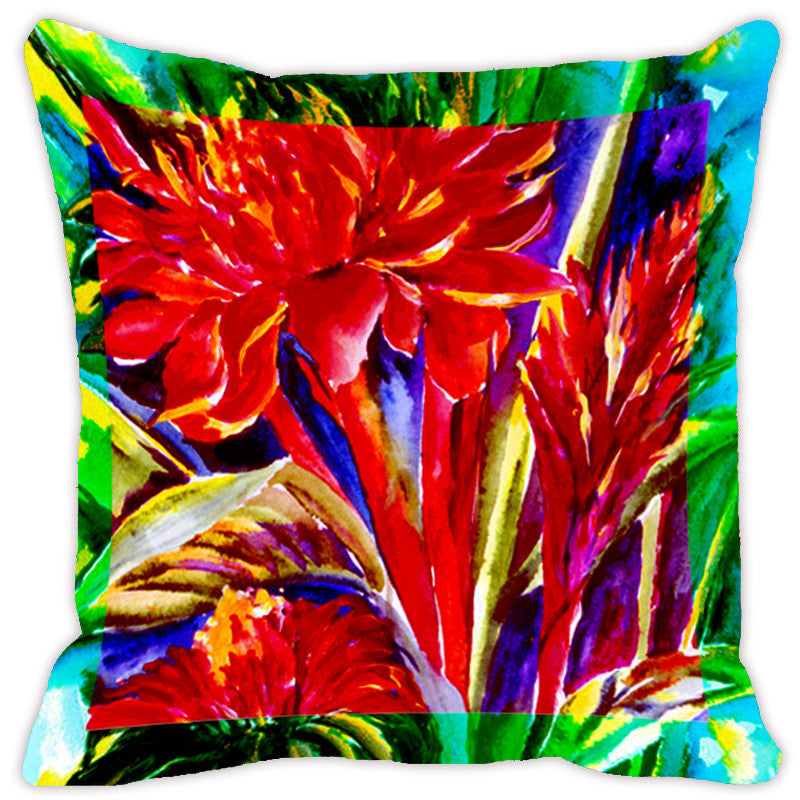 Leaf Designs Bright Red Flora Cushion Cover