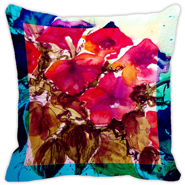 Leaf Designs Bright Pink & Brown Flora Cushion Cover