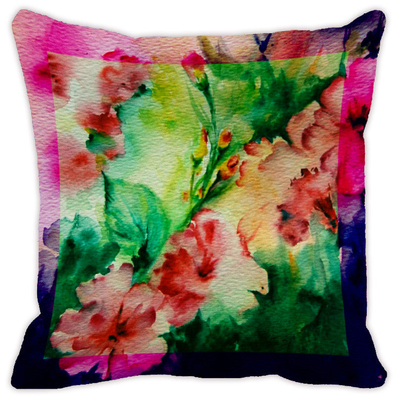 Leaf Designs Pink & Bright Green Flora Cushion Cover