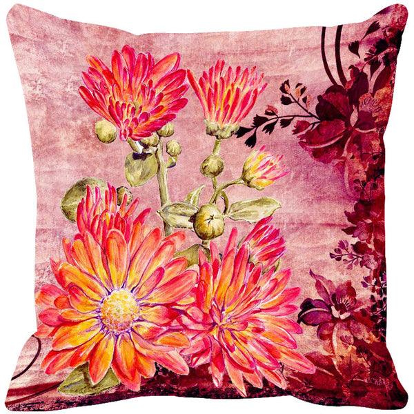 Leaf Designs Pink Vintage Cushion Cover