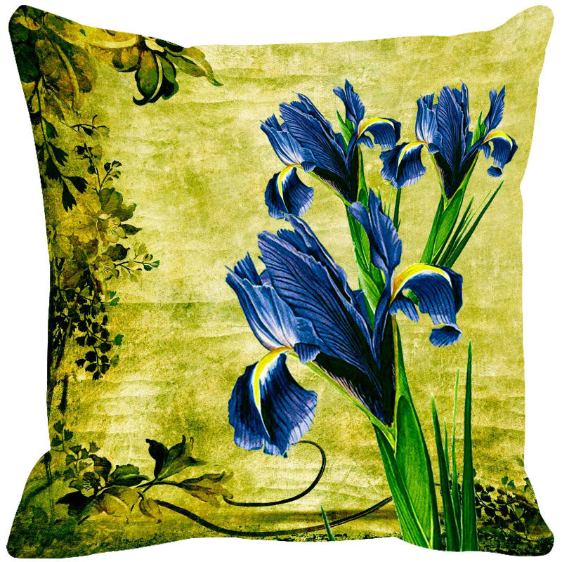 Leaf Designs Blue & Green Vintage Cushion Cover