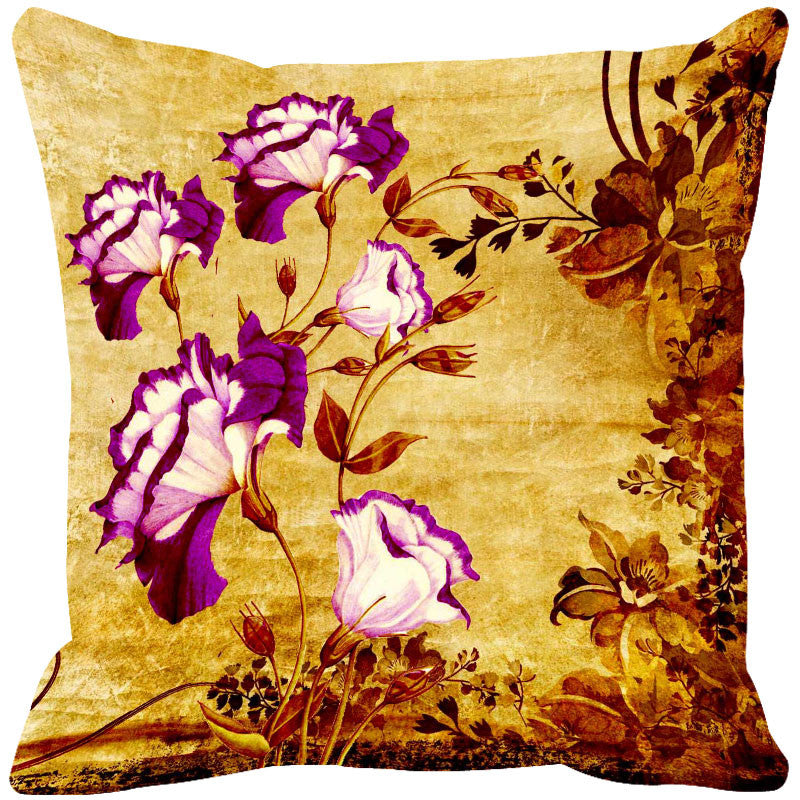 Leaf Designs Magenta & Yellow Vintage Cushion Cover