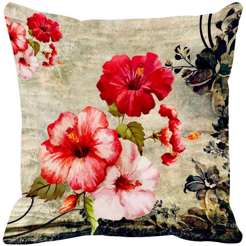 Leaf Designs Fiery Red Vintage Cushion Cover