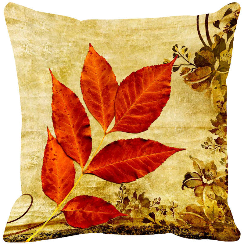 Leaf Designs Bright Red & Yellow Vintage Cushion Cover