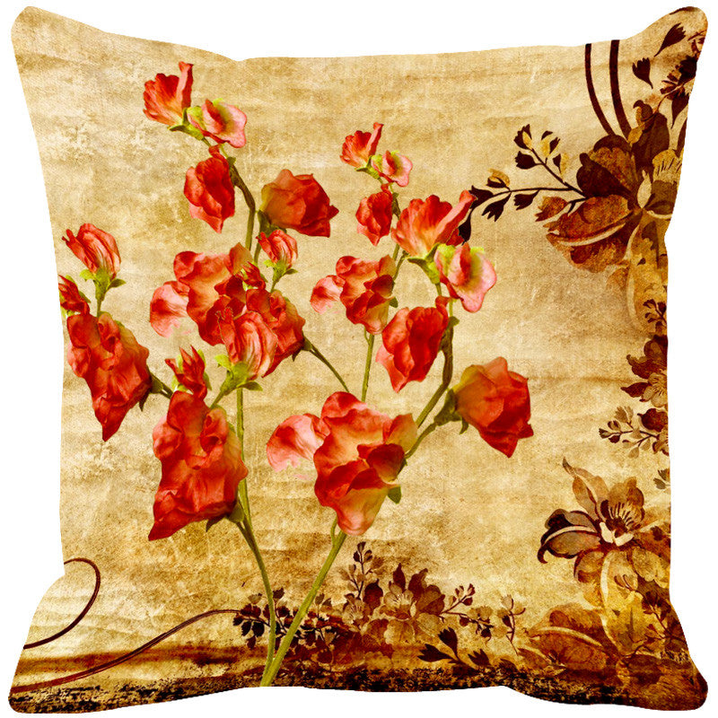 Leaf Designs Red & Sepia Vintage Cushion Cover
