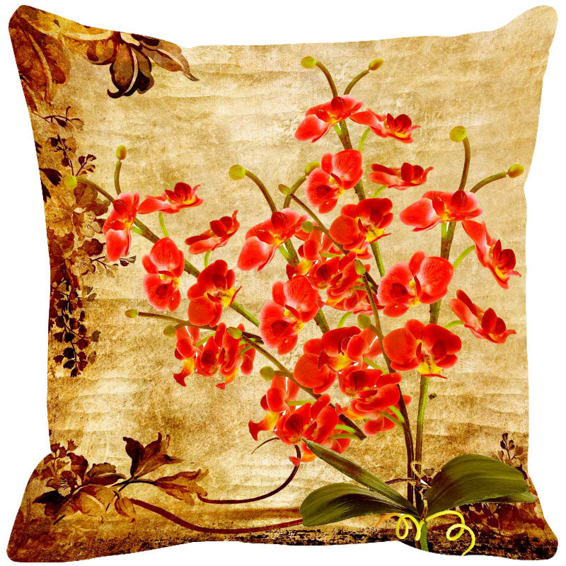 Leaf Designs Orange & Sepia Vintage Cushion Cover