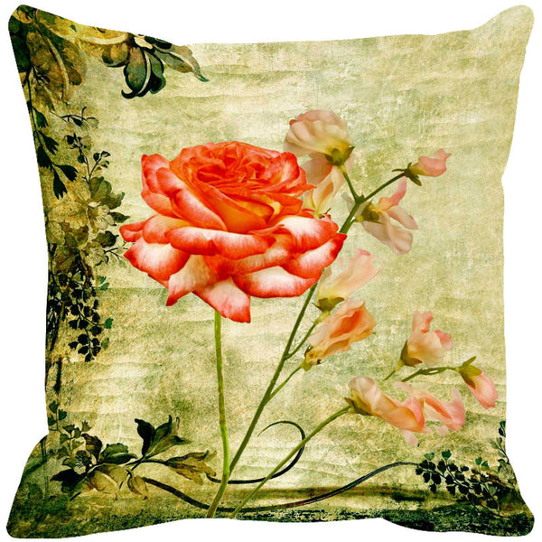 Leaf Designs Sap Green & Orange Vintage Cushion Cover