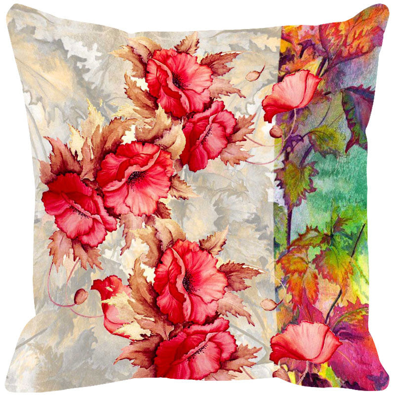 Leaf Designs Red & Multi Summer Floral Cushion Cover