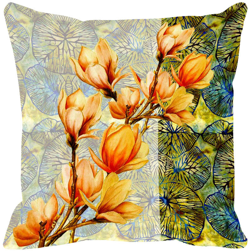 Leaf Designs Yellow & Multi Summer Floral Cushion Cover