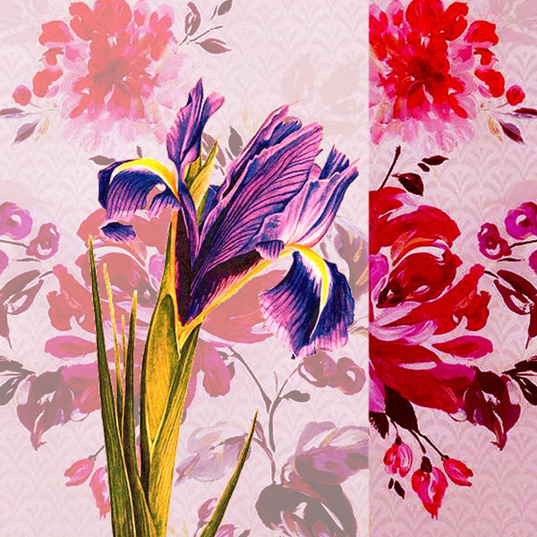 Leaf Designs Purple & Pink Summer Floral Cushion Cover